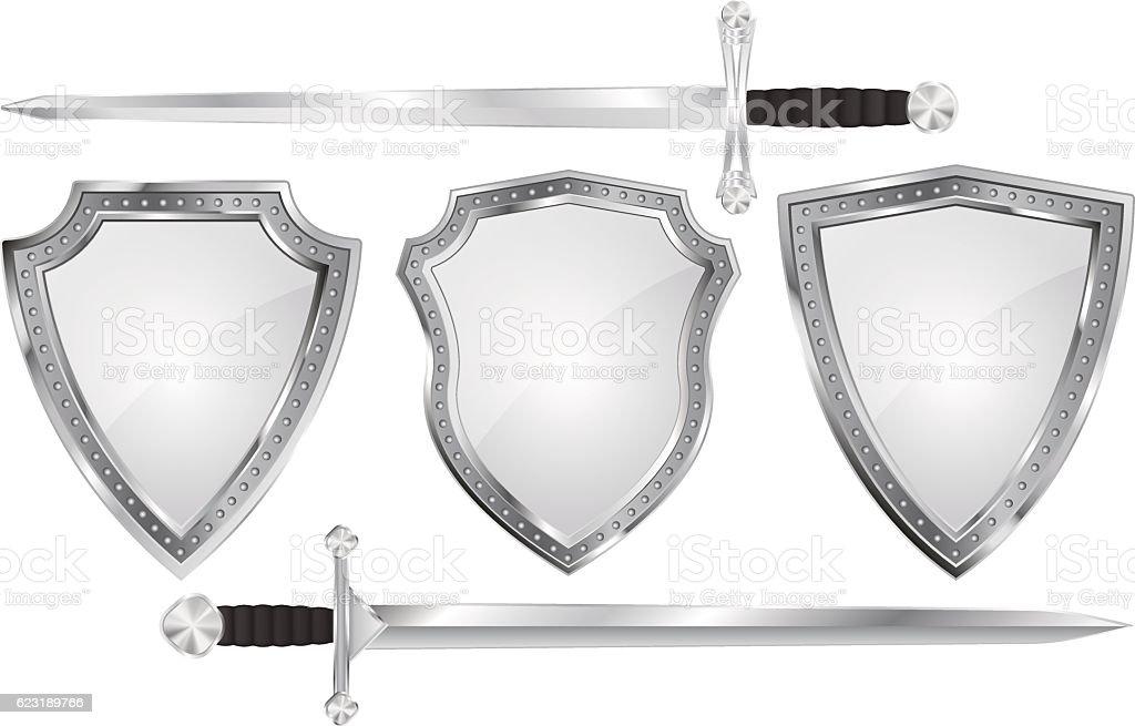 Set of metal shields with swords vector art illustration