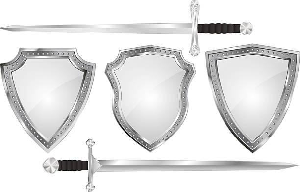 set of metal shields with swords - sword stock illustrations