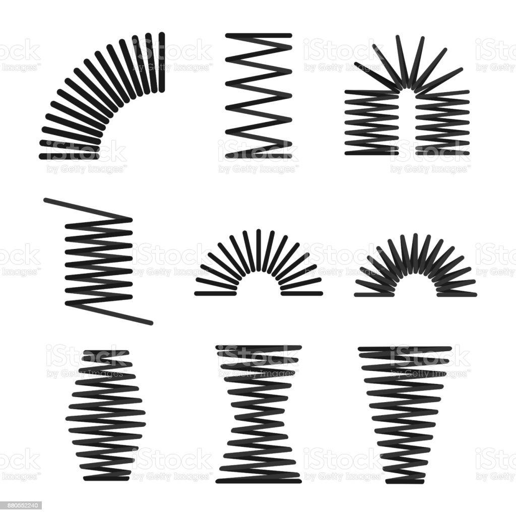 Satz Von Metallfedern Spirale Biegsamen Draht Vektor Illustration ...