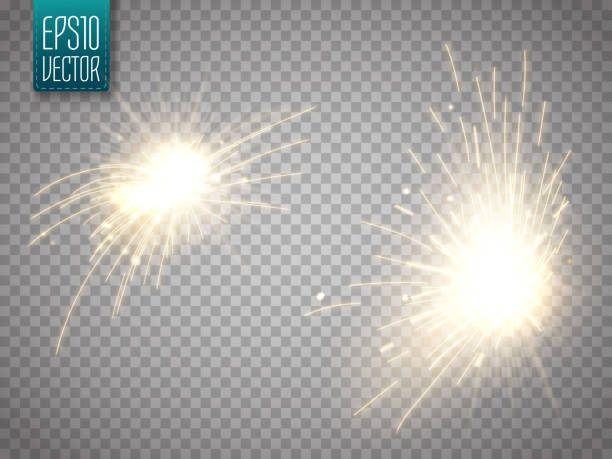 set of metal welding with sparks or sparklers isolated - spark stock illustrations