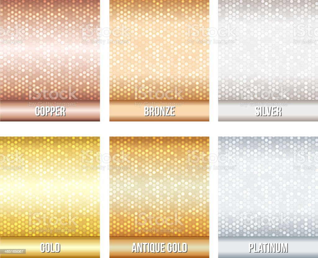 Set of metallic colors with a glittering shade vector art illustration