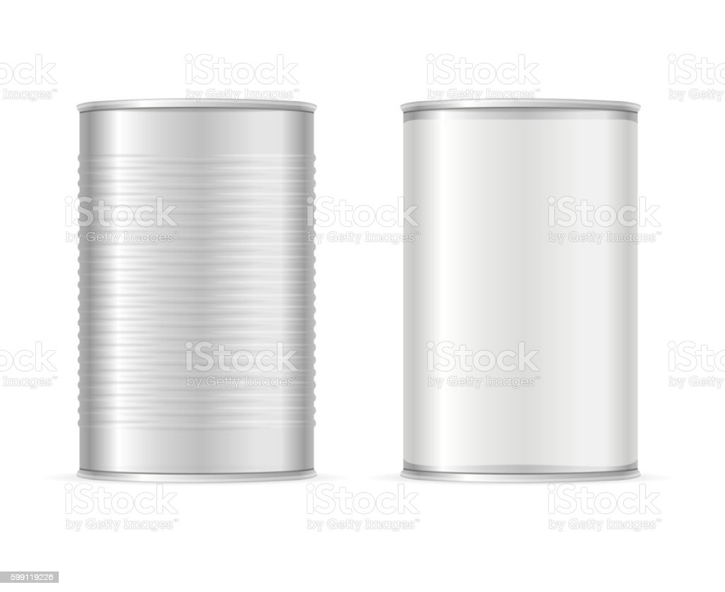 Set of Metallic Tin Cans. Vector vector art illustration