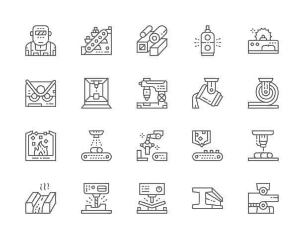 satz von metallurgie industrie linie icons. metallschneidemaschine, förderer, bergbauindustrie, stahlrohre. - metallverarbeitung stock-grafiken, -clipart, -cartoons und -symbole
