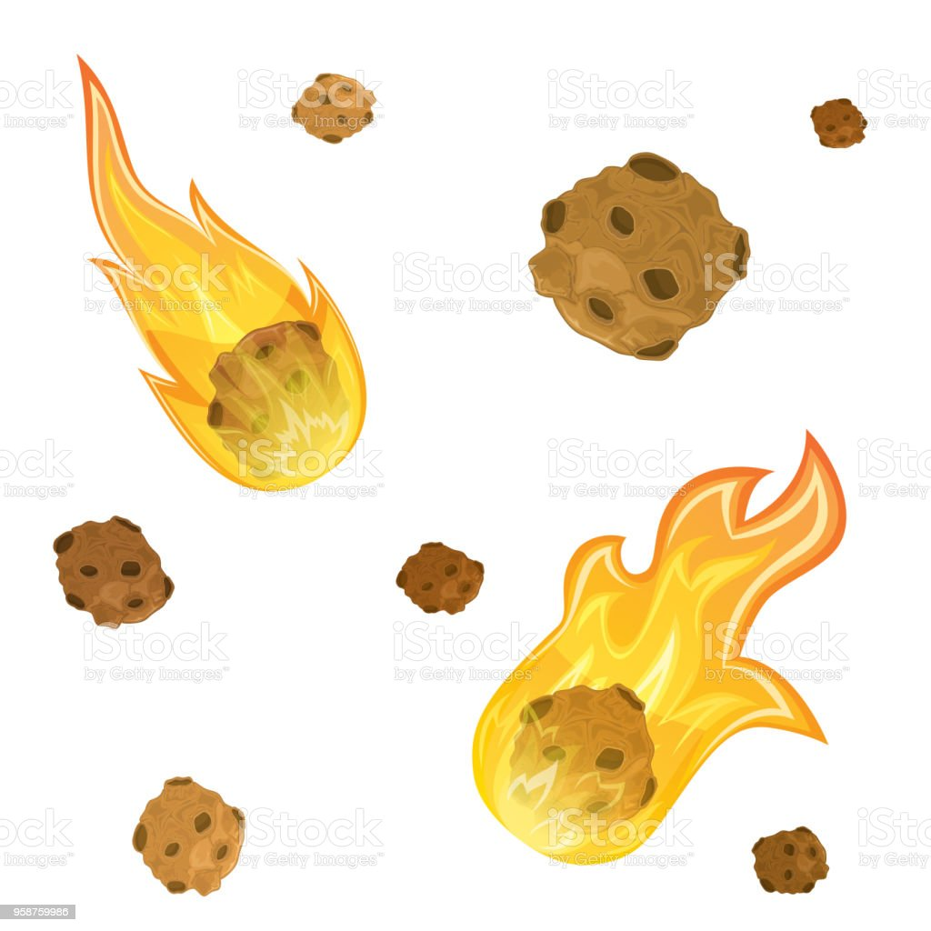Set of meteorites vector art illustration