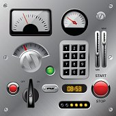 Set of meters, buttons and other machinery parts