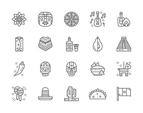 Set of Mexican Culture Line Icons. Tequila, Burrito, Poncho, Agave and more.