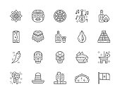 Set of Mexican Culture Line Icons. Ethnic Tribal Mask, Tequila, Burrito, Poncho, Agave, Avocado, Chili Pepper, Nacho Chips, Maracas and more.