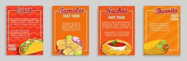 set von mexikanischen fast-food-shop-flyer, banner. - mexikanisches essen stock-grafiken, -clipart, -cartoons und -symbole