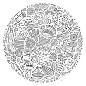 Line art vector hand drawn set of Mexican food cartoon doodle objects, symbols and items. Round composition