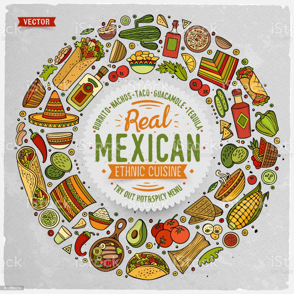 Set of Mexican food doodle objects, symbols and items vector art illustration