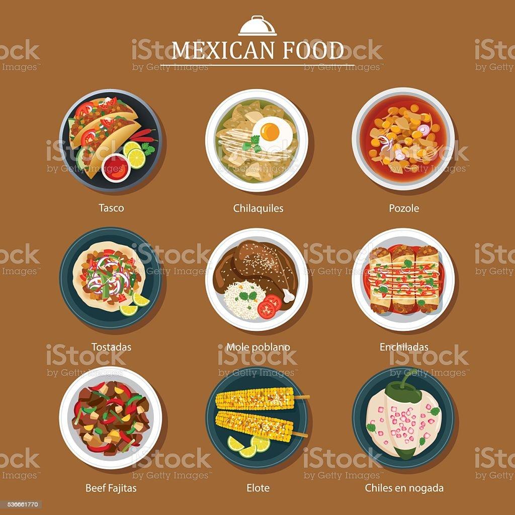 Conjunto de comida mexicana diseño plano - ilustración de arte vectorial