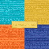 Set of 4 bright mexican pattern