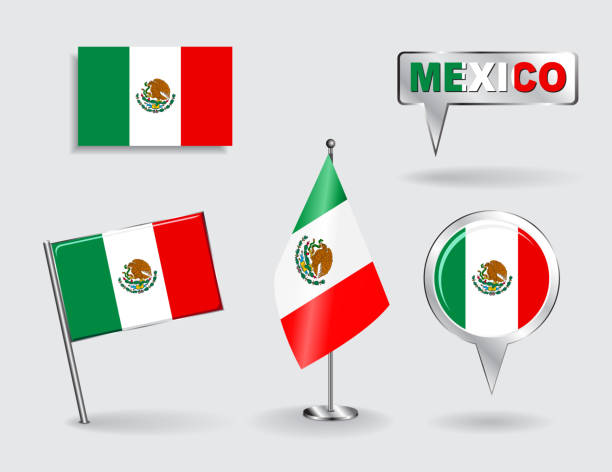 Conjunto de pinos e mexicana, Ícone de Mapa pointer flags. Vetor - ilustração de arte em vetor
