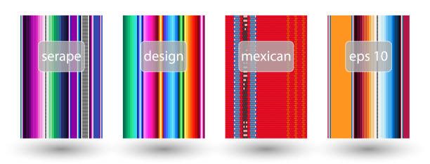 set of mexican rug pattern. serape stripes vector. detail background with mexican colors. set of mexican rug pattern. serape stripes vector. detail background with mexican colors. creative colored cover design. serape stock illustrations