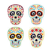 Set of mexican sugar skull with colorful ornament. Vector illustration in cartoon flat style. Day of the death.