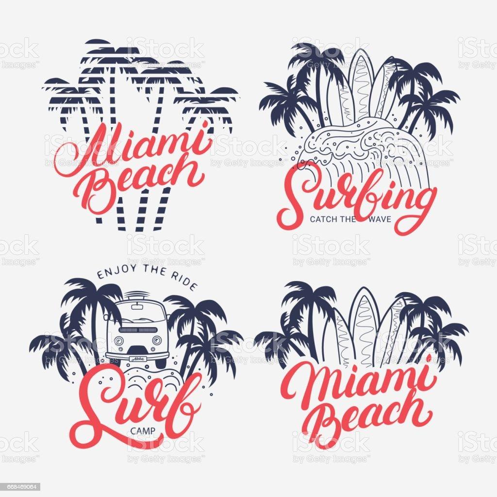 Satz Von Miami Beach Und Surfen Hand Geschriebenen Schriftzug Stock ...