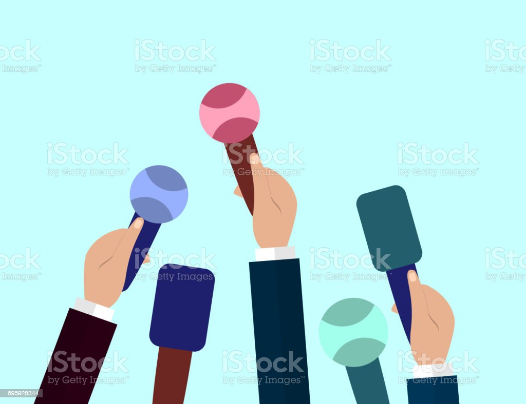 Set of Microphones. Journalism concept, Mass Media, TV, Interview, Breaking News, press conference concept. Microphones in reporter hands. vector art illustration
