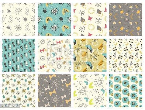 istock Set of Mid century modern seamless pattern 926152360