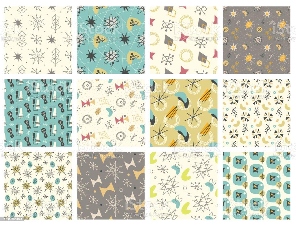 Set of Mid century modern seamless pattern vector art illustration