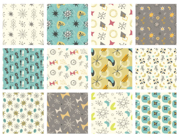 set of mid century modern seamless pattern - 1950s style stock illustrations, clip art, cartoons, & icons