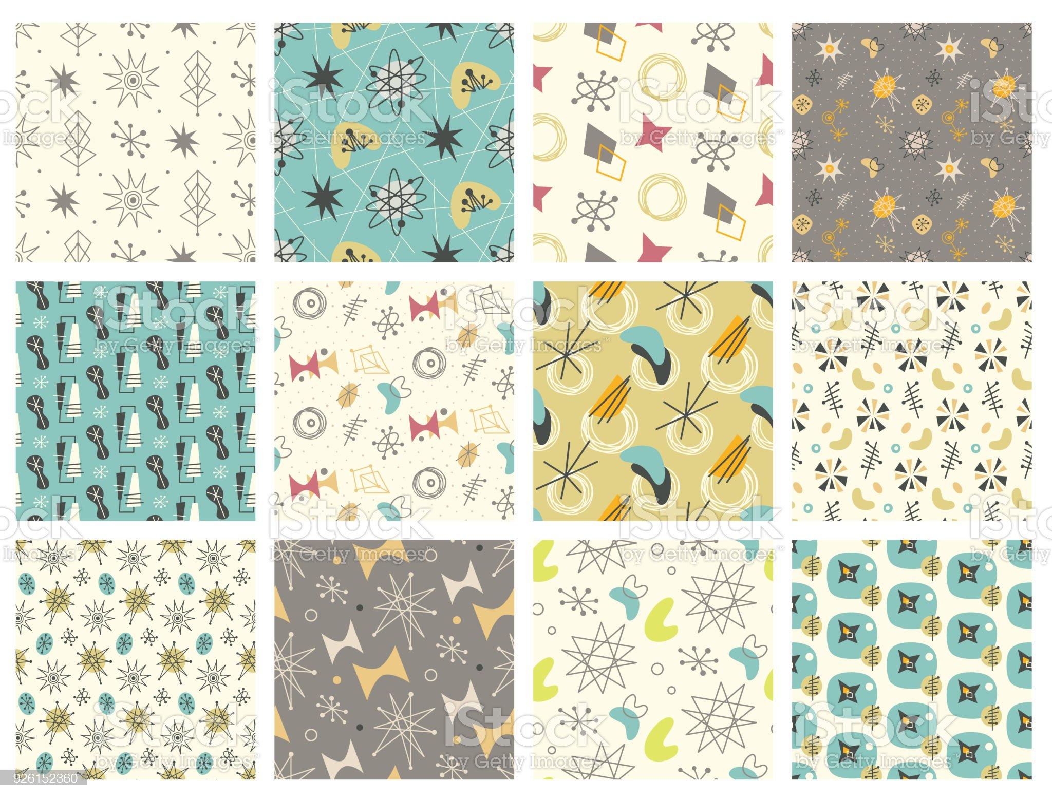Set of Mid century modern seamless pattern - Royalty-free 1950-1959 stock vector