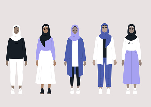 A set of middle eastern female characters wearing hijabs and different outfits: casual, elegant, sport, business