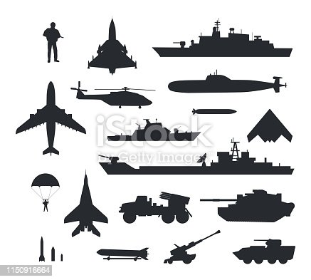 Military armament and troops silhouettes. Army aircraft, artillery, navy warships, submarine, helicopter, rockets, apc, soldier and paratrooper vector illustrations isolated on white background