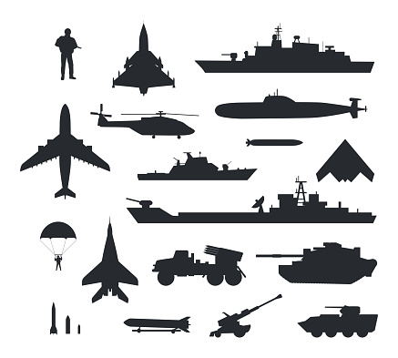 Set of Military Armament Vector Silhouettes