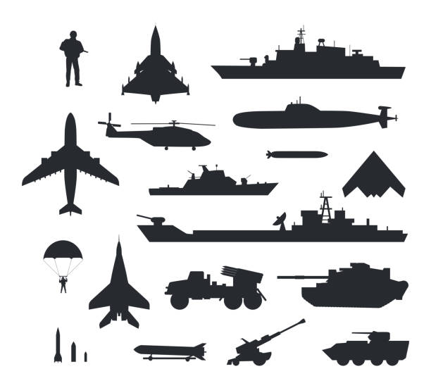 Set of Military Armament Vector Silhouettes Military armament and troops silhouettes. Army aircraft, artillery, navy warships, submarine, helicopter, rockets, apc, soldier and paratrooper vector illustrations isolated on white background defend stock illustrations