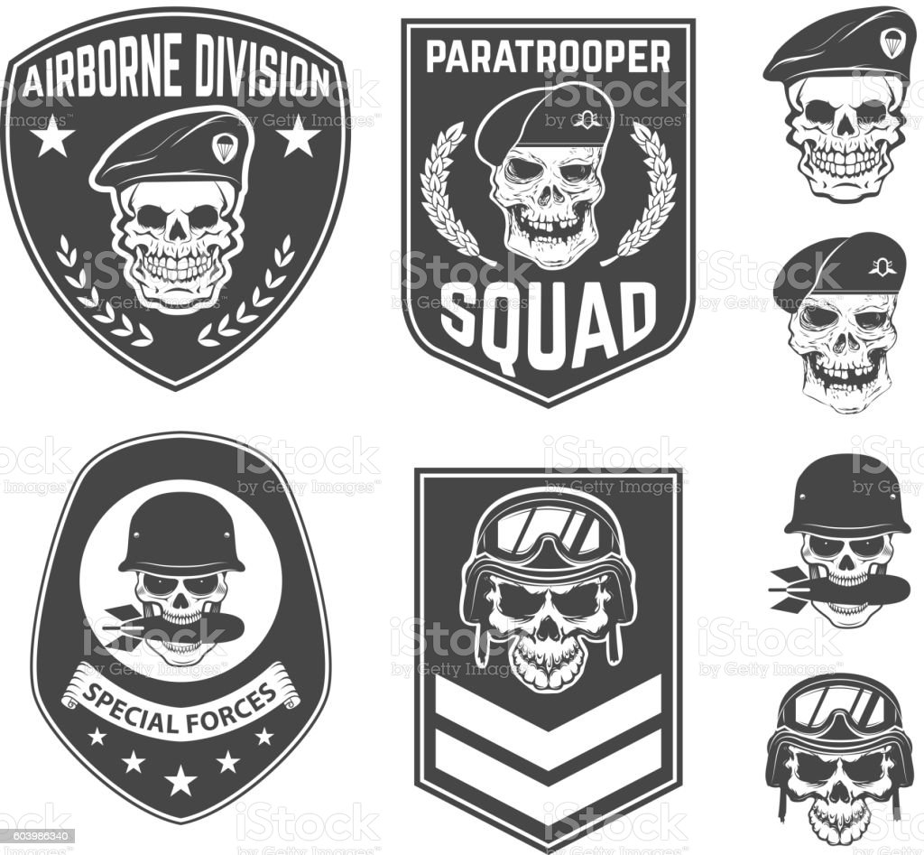 Set of military emblems and design elements. vector art illustration