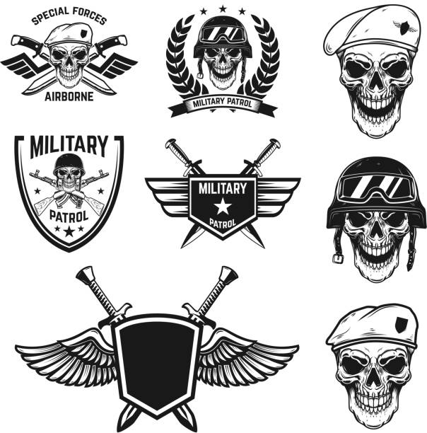 Set of military emblems with paratrooper skull. Design element for poster, card, label, sign, card, banner. Set of military emblems with paratrooper skull. Design element for poster, card, label, sign, card, banner. Vector image sergeant stock illustrations