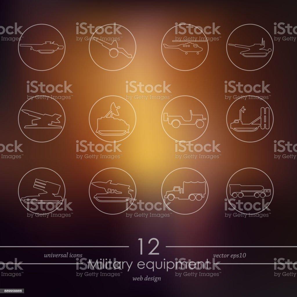 Set of military equipment icons vector art illustration