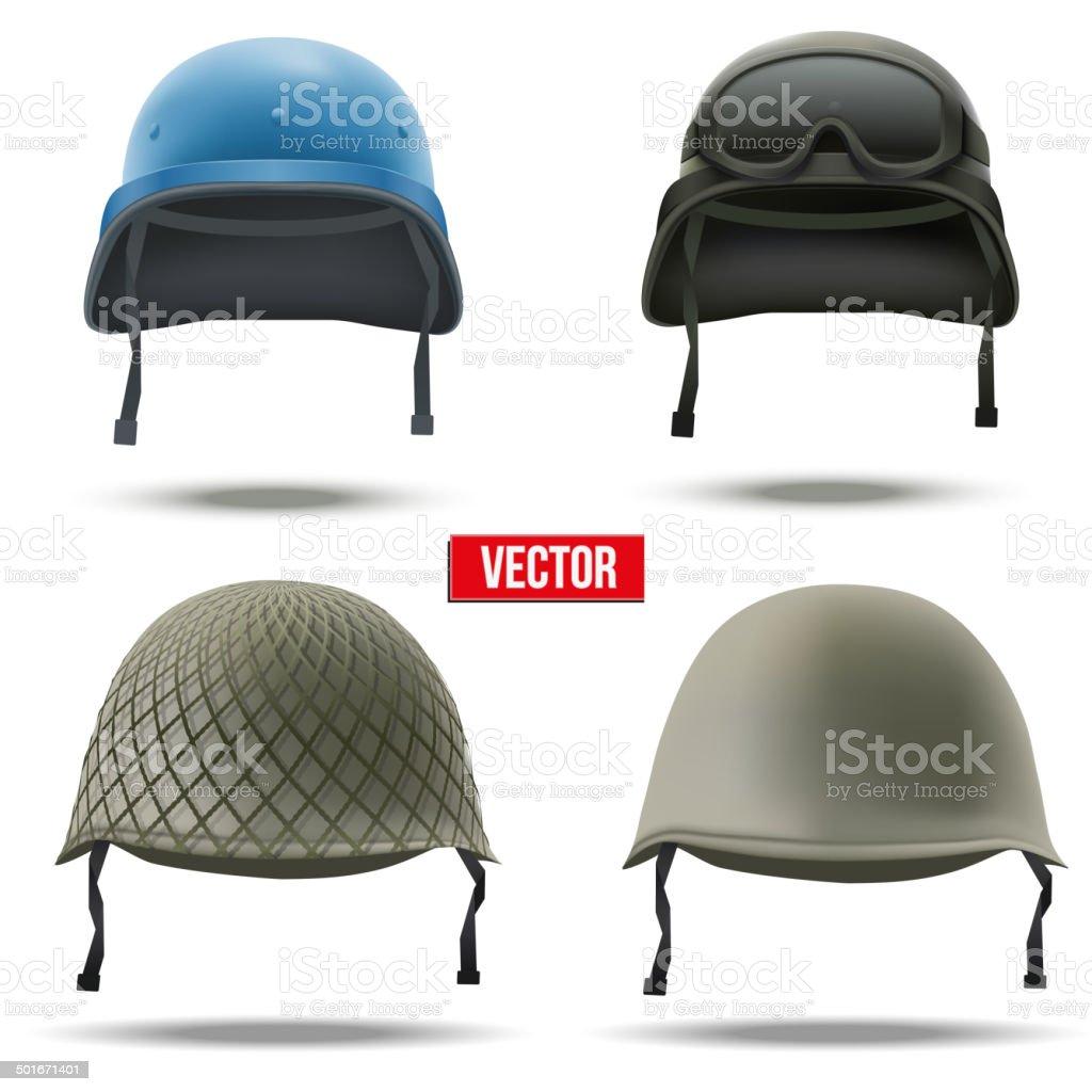 Set of Military helmets. Vector Illustration. vector art illustration