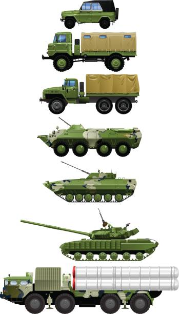 set of military vehicles. vector art illustration
