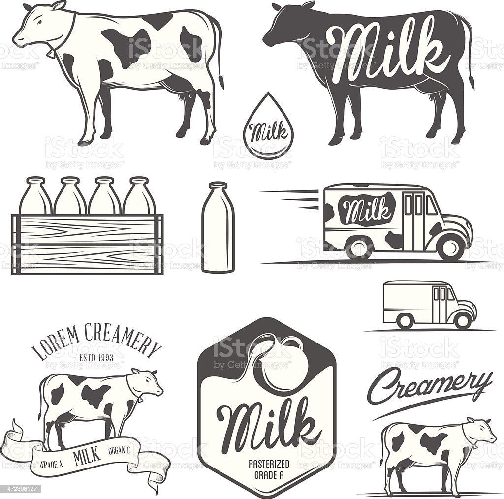 Set of milk and creamery design elements vector art illustration