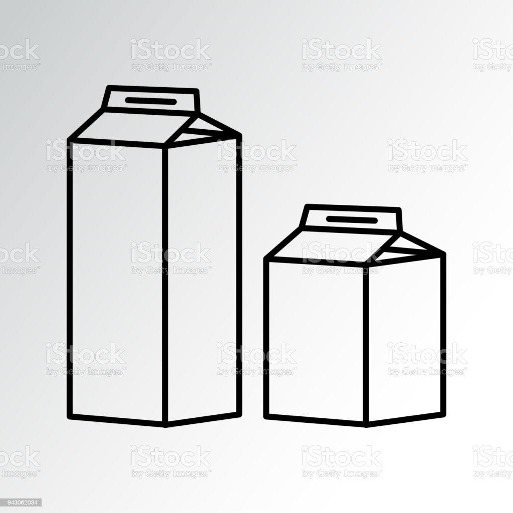 Set Of Milk Carton Packages Outline Design Vector Illustration Stock ...