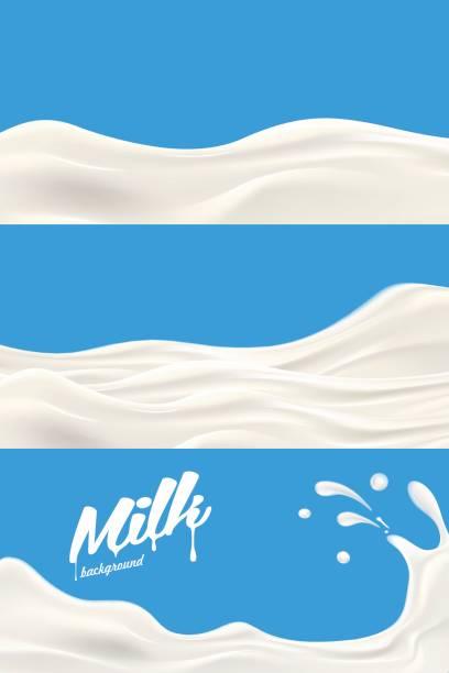 satz von milch oder joghurt splash realistische vektorgrafik für label-design oder werbung bedürfnisse - milch stock-grafiken, -clipart, -cartoons und -symbole