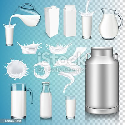 Set of milk product, isolated on transparent background. Splashing and pouring milk, bottle, jug, glass, milk can.