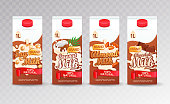 Set of milk tetra packs with different tastes.Fresh and natural soy, coconut,almond and chocolate milk for your brand,template, label, emblem for packaging, packing,advertise.Vector illustration