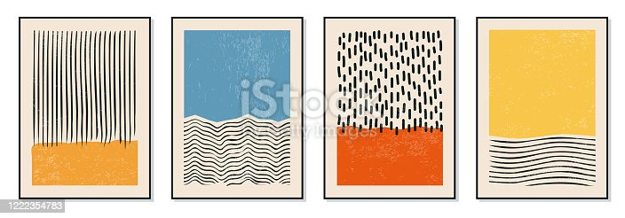 istock Set of minimal 20s geometric design posters, vector template with primitive shapes elements 1222354783
