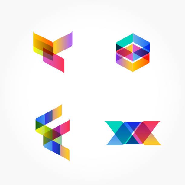 stockillustraties, clipart, cartoons en iconen met set van minimale geometrische multicolor vormen. trendy hipster pictogrammen en symbool typen. zakelijke ondertekent symbolen, etiketten, insignes, kaders en randen - veelvlakkig