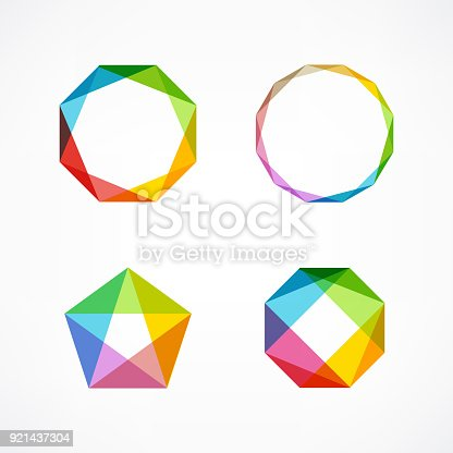istock Set of minimal geometric multicolor symbols and shapes. Trendy icons and logotypes. Business signs symbols, labels, badges, frames and borders 921437304