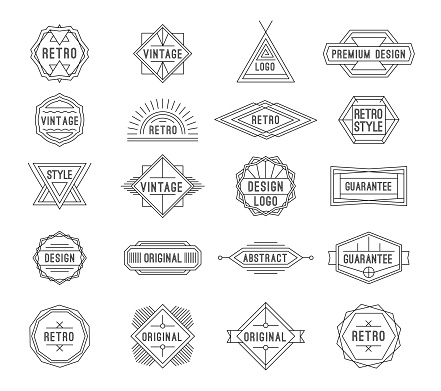Set of minimal geometric vintage labels with the place for text.