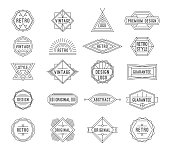 Set of minimal geometric vintage labels with the place for text. Vector illustration.