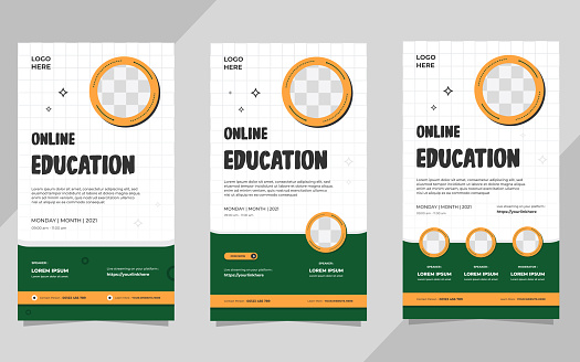 Set of minimal social media stories template with circle frame for Online education, Online school and other E-learning