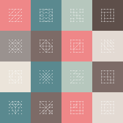 Set of Minimalism dot line pattern icon cover for design