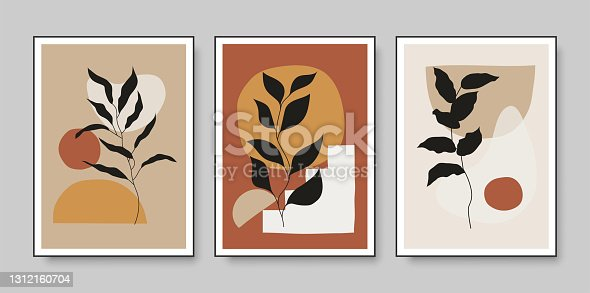 istock Set of minimalist botanical vector illustration as abstract line art composition with leaves. Ideal for art gallery, modern wall art poster, minimal interior design. 1312160704
