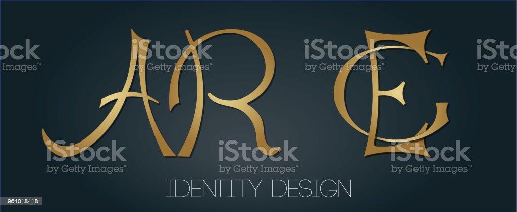ブランドおよび個人的なデザインのシンプルな黄金モノグラムのセットです。AR の文字、例えば - アーカンソー州のロイヤリティフリーベクトルアート