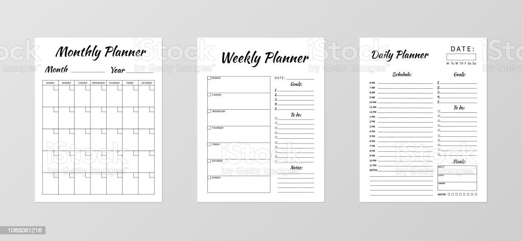 set of minimalist planners daily weekly monthly planner
