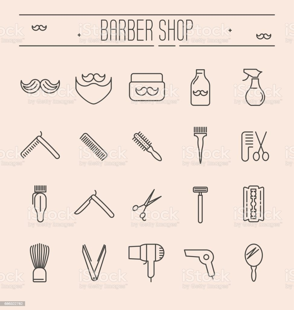Set of minimalistic barber shop icons for logo or web site. Vector illustration in thin line style. vector art illustration
